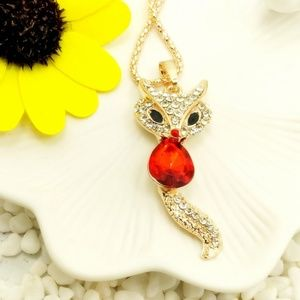Red Fox Sweater chain Charm Long necklace